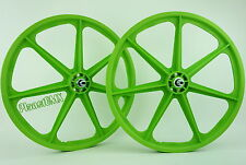 "Skyway BMX 24"" TUFF WHEELS cruiser Mags in GREEN sealed bearing hubs USA MADE"