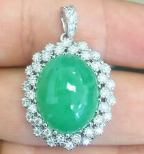 14K White Gold Oval Cut Jade and Diamond Engagement Pendent Halo Bridal 8.70ctw