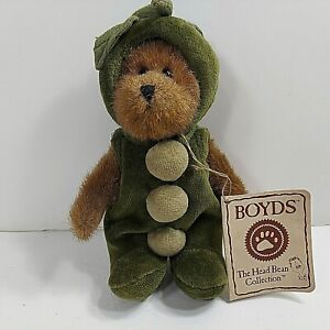 """Boyd's Bears Polly Peapod 7"""" Mini Plush Jointed Green Velvet Suit 904245 Retired"""