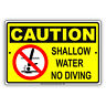 Caution Shallow Water No Diving Pool Swim Safety Policy Aluminum Metal Sign