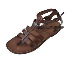 Scarpe sandali uomo GLADIATORE degli Antichi Romani SUOLA CUOIO Marrone Italy