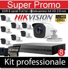 KIT VIDEOSORVEGLIANZA HD FULL HD HIKVISION 8 TELECAMERE DVR 8 CANALI FULL HD