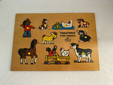 Vintage Fisher Price Farm Animals Wooden Puzzle 507 Made in Belguim