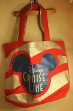 Disney Cruise Line Red & Silver Stripe Canvas Tote w/ Blue Mickey Mouse Logo