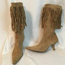 Bronx Tan Suede Fringed Mid Heel Ankle Boots 39 9