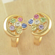 Lovely 9K Solid Gold Filled crystal Crystals Flowers Hoop Earrings,Hot,Z3459