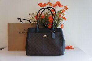 NWT COACH F31475 CASEY Tote Signature Canvas Shoulder Bag Purse Brown Black$398