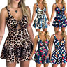 Women Fashion Tie Playsuits Chest Overall Loose Bow Jumpsuit Printed Hollow