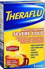 Theraflu Severe Cold & Cough GREEN TEA & HONEY 6ct CLEARANCE SHORT DATE! 9/2017