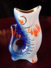 ViNTaGe Lomonosov Porcelain Blue~White~Gold FiSH Figurine Toothpick~Match HoldeR