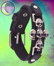 New Gothic Skull Cross Metal Rivet Leather Wristband Punk Rock Bracelet