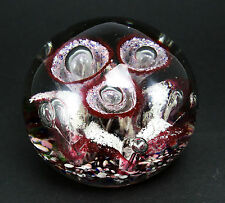 Large Controlled bubble Art Glass Paperweight, Iris Form Magenta Purple & White