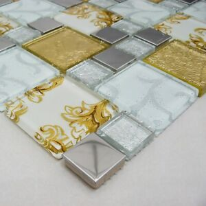 Onyx Gold Vintage Steel With Glass Mosaic Tiles Sheet For Wall And Floor