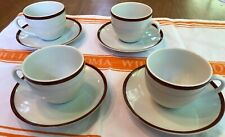 4 set(s) Williams Sonoma BRASSERIE Maroon Burgundy *Cups & Saucers* Japan NWOT