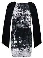 Ladies Tunic New Womens Long Angel Sleeved Black White Top Dress UK 8-14 S/M M/L
