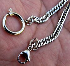 12 Inch Silver Tn. 5mm Pocket Watch Chain With Spring Ring Clasp & Lobster Hook