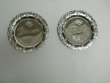 Bride and groom plates, stainless steel, 4 inches each
