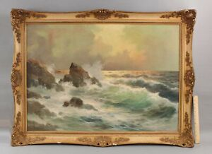 Large Orig GIUSEPPE ROSSI Italian Luminist Sunset Seascape Maritime Oil Painting