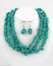 "Long 48""inch Natural Turquoise Irregular Beads Jewelry Necklace Earrings"
