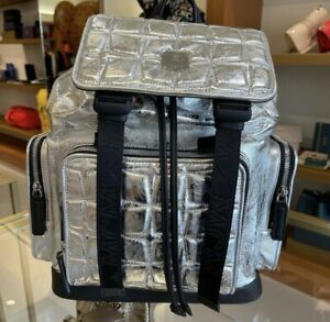 MCM Unsex Light Silver Small Size Backpack $1490+Tax