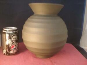 Lovely Wedgwood Banded Black Basalt Globular Vase  inspired  by Keith Murray