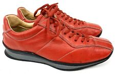 Prada Sport Size 37.5 Red Leather Lace Up Sneakers Trainers Shoes