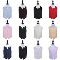 Boys Waistcoat Woven Swirl Pattern Wedding Tuxedo Vest FREE Pocket Square by DQT