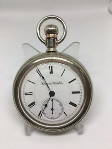 18 Size Hampden Open Face Private Label Pocket Watch, Works!