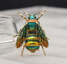2019 Womens Enamel Bumble Green Bee Crystal Brooch Pin Costume Jewellery HOT