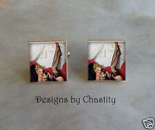 Pinup Scrabble Cuff Links Blonde Red Sexy Girl Altered Art Charms - Phone Teller