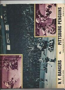 December 12,1971 Pittsburgh Penguins vs. N.Y. Rangers program exc (see scan)