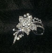 REDUCED!!! FINAL SALE!!! ONE DAY SALE LOT 5 CRYSTAL  RHINESTONE FLOWER BROOCHES!