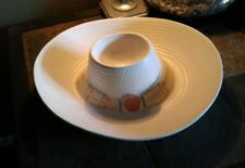 Treasure Craft Taos Sombrero Hat Cream Coral Green Chip & Dip Bowl Free Shipping