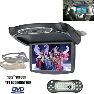 13Inch Flip Down Monitor Video w/ DVD Player 1280P Car Top Roof Slim Wide Screen