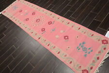 """2'6"""" x 9'9"""" Hand Woven Wool Dhurry Oriental Area Rug Runner Traditional Pink"""