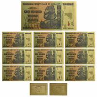 10pcs Zimbabwe $100 Trillion Dollars Gold Banknote Set For Collection +COA