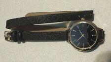 AVON Vintage Style Fashion Ladies/ Girl's Black Faux Leather Wrap Around Watch