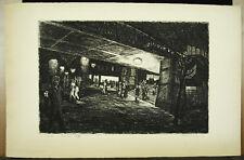 Station de métro Barbès en 1948 estampe originale signée et justifiée IX / Xm