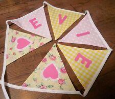 Personalised Name Bunting Girls, Yellow, Pink £1.25 PER FLAG