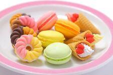 IWAKO 10 French Pastry Macaroon, Waffle Cone, doughnut Puzzle Rubber Eraser Set