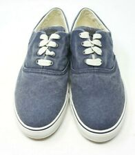 LL Bean Sunwashed Canvas Denim Blue Sneakers Walking Tennis Shoes Size 8.5