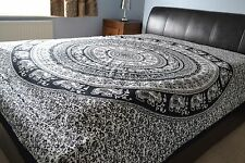 Indian Mandala Elephants Bedsheet Huge throw Wall Hanging Bohemain Hippie 2.4x2m