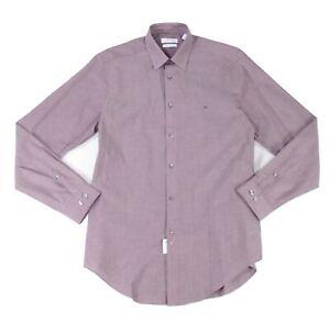 Calvin Klein Men's Dress Shirt Purple Size 15 1/2 Medium M Slim Fit $69 #111