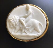 Fine Antique Cameo Brooch of Una / Lion after Bell's Sculpture- RARE