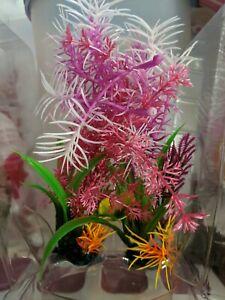"""Aqua Culture Plastic Plant Aquarium Accessory Green, Purple 5"""" tall, New"""