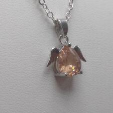 NEW Womens Orange Crystal Rhinestone Silver Chain angel Pendant Necklace Charm