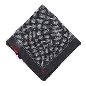 Isaia Black and Gray Coral Branch Print Linen Pocket Square NWT