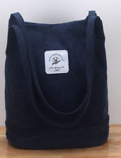 Womens Shoulder Bag Washed Canvas Tote Travel Pouch Inside Zip Pocket Blue