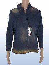 Camicia donna jeans denim E-PLAY taglia l large stampa città manica lunga