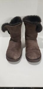 UGG Bailey Button Brown Boots Size 8